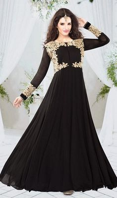 Floor Length Black Anarkali Dress : Online Shopping, - Shop for great products from India with discounts and offers, Indian Clothes and Jewelry Online Shop