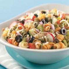 Pasta Salad Ingredients: 1 cup uncooked tricolor spiral pasta  	1/2 cup chopped seeded cucumber  	1/2 cup thinly sliced celery
