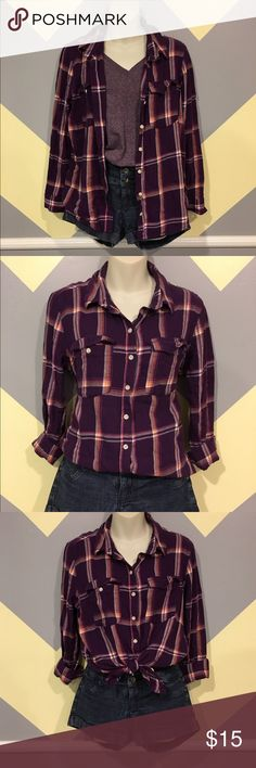 🌹Purple Flannel - Mossimo Smoke Free. Offers always welcome. Questions answered within 24 hours. 💕 Mossimo Supply Co. Tops Button Down Shirts