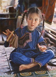 ARTIST WAI MING - Asian Oriental Chinese Fine Art Artwork Paintings Catalog (title: Listen)