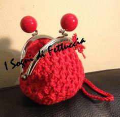 borsellino in cotone rosso lacca, con polsiera