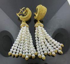 Ferro Jewelers - Estate Jewelry | 18ky Pearl and Diamond Tassel Earrings