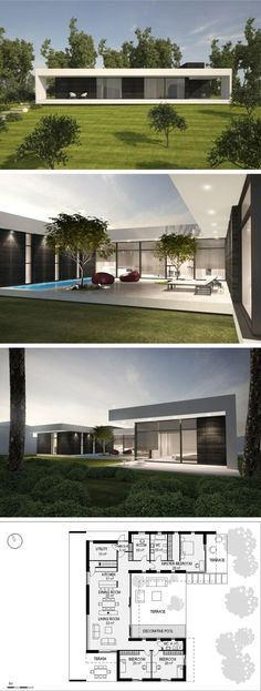 Villa Plan, House Layouts, Sims 4 Houses Layout, Modern Bungalow House Plans, Modern Floor Plans, Sims 4 Modern House, One Floor House Plans, Office Floor Plan, Modern Houses