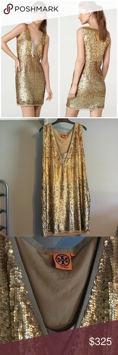 Stunning Tory Burch Gold Sequin Dress SO pretty and perfect for a party! Like new condition, no flaws! Oversized fit. Beaded panel at chest. No trades!! Tory Burch Dresses