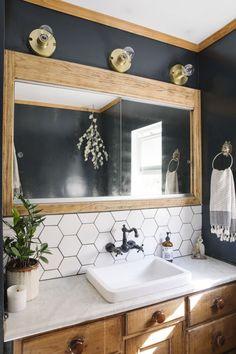 boho Bathroom Decor Elaina Bellis Home Tour - bathroomdecor Bad Inspiration, Bathroom Inspiration, Bathroom Renos, Bathroom Interior, Bathroom Renovations, Burbank Homes, Bohemian Bathroom, Dressing Room Design, Wood Accents