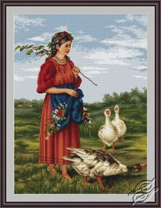 Girl With Geese - cross stitch kit, manufactured by Luca-S. Cross Stitch Bird, Cross Stitch Flowers, Cross Stitch Designs, Cross Stitching, Cross Stitch Embroidery, Cross Stitch Patterns, Hand Embroidery Designs, Embroidery Patterns, Vintage Cross Stitches