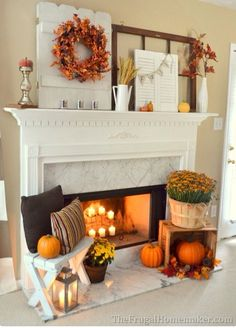 Fall mantel | The Frugal Homemaker