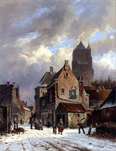Kunsthandel A. Bies - COLLECTION - leading Dutch fine art gallery, specialized in Dutch Romantic School (Romantiek), Hague School (Haagse School) and early century paintings. Winter Painting, Winter Art, Delft, Carl Spitzweg, Picture Tiles, Mary Cassatt, Tile Murals, Wall Mural, Wall Tiles