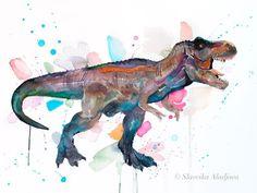 dinosaur tattoos Tyrannosaurus rex, T rex dinosaur watercolor painting print by Slaveika Aladjova Dinosaur Drawing, Dinosaur Art, Sea Life Art, Sea Art, Watercolor Animals, Watercolor Paintings, Watercolor Paper, T Rex Tattoo, Jurassic Park
