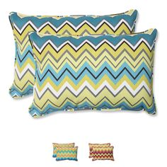 Lounge in bright style against this set of weather- and UV-resistant outdoor over-sized corded rectangular throw pillows. Infused with a zig zag pattern, this attractive set of pillows includes a soft polyester fiber filling, and a spun polyester cover.