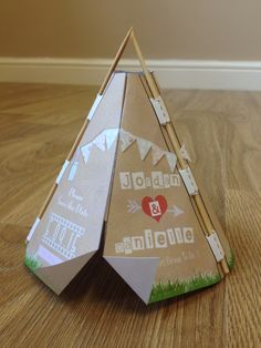 Self build save the date wedding invite tipi style #tipisavethedate #savethedate #tipiwedding