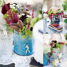 tea tin flower arrangement