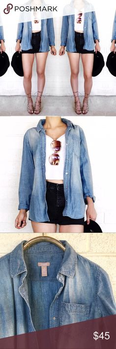 Chicos denim button down Must have staple! Size 1 in chicos equivalent to medium. No trades. Open to offers Chico's Tops Button Down Shirts