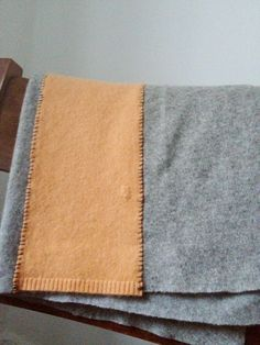 Hand stitched & repurposed gray and peach cashmere blanket