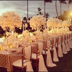 This gorgeous table setting is simple and elegant. White roses, strings of pearls, elegant mahogany chiavari chairs accented with ivory fabric and gathered with a rhinestone band, and scattered votive candles tie this look together. This breathtaking set-up is set outside creating a glamorous look for any outside wedding reception!