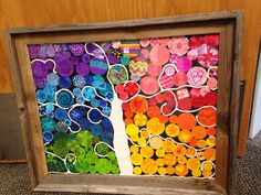 7th grade tree of life art auction project. Each child decorated circles 1in-2in in specific colors. Then circles were placed to create a tree, then it was framed with a beautiful barn wood looking frame. 2013-14 SPCS