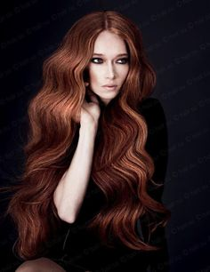 Long wavy auburn hair
