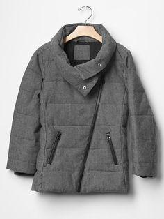 Girl GAP Puffer Winter Jacket Gray Black Cotton Tweed Moto sz 8 (M) 12(XL) #GapKids #PufferJacket #Everyday