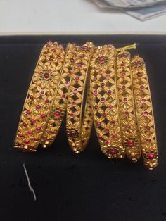 Gold temple jewellery bangles
