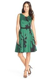 Taylor Dresses Mesh Inset Shantung Fit & Flare Dress