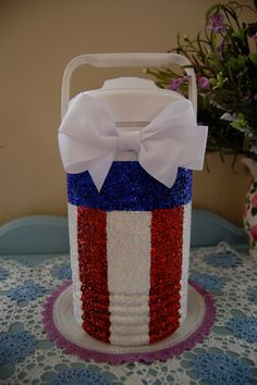 Glitter American Flag Jug Cooler by SororitySweety on Etsy Cute Crafts, Diy And Crafts, Arts And Crafts, Do It Yourself Inspiration, Cooler Painting, Sorority Crafts, Crafty Craft, Crafting, Fourth Of July