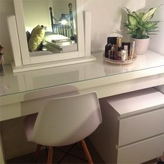 Ikea Malm dressing table...I'll just buy this vanity and save myself a good $500 big ones.