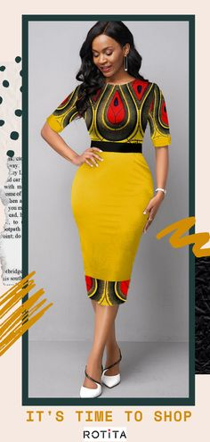 Half Sleeve Tribal Print Round Neck Dress - Love that this dress is just the right length to be appropriate for work-it's not too short Source by fashionrotita - African Maxi Dresses, Latest African Fashion Dresses, African Dresses For Women, African Attire, Ankara Fashion, African Women, Sexy Dresses, Short Dresses, African Inspired Clothing