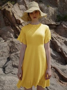 [MONTS 몬츠] round neck flare yellow one-piece Yellow One Piece, Yellow Dress, Knitwear, Short Sleeve Dresses, Lemur, Knitting, Flare, Sweaters, How To Wear