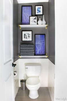 Graphic Glam Master Bathroom Makeover Water closets don't have to be boring. Take the focus off the toilet with tile, (faux) marble shelves, and art. This entire graphic glam bathroom makeover is a must see. Closet Makeover, Small Toilet Room, Bathroom Makeover, Water Closet, Closet Decor, Downstairs Bathroom, Toilet Closet, Bathroom Inspiration, Master Bathroom Makeover