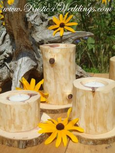Rustic Wedding Candle Holders. Cedar Candle Holders. The bark has been removed from this cedar log to expose the beautiful natural grain that makes cedar so well known. Gorgeous!