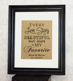 Rustic Wedding Sign on Burlap Personalized  Love by 33marketstreet, $20.00