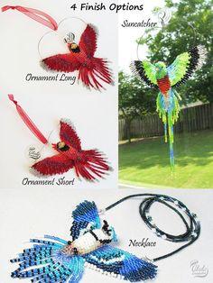 3D en perles oiseaux: Quetzal oiseau Suncatcher, décor de fenêtre Quetzal, oiseau perlé ornement, collier oiseau, miroir Decor, Figurine d'oiseau, décor de fenêtre de voiture  > Dimensions approximatives de l'oiseau perlé sont: W 3 1/2 pouces (9 cm) H 5 1/2 po (14 cm) / 6 1/2 po (16,5 cm) avec la pendaison de fil D 1 pouce (2,5 cm)  === options de finition 4 ===  > 1. Capteur / décor de fenêtre / miroir Decor Avec cette option, ce magnifique oiseau perlé est livré avec un petit crochet…