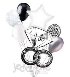 7pc I Do Wedding Ring Diamond Balloon Bouquet Party Decoration Bridal Engagement