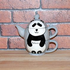 Hand Painted Personalised Ceramic cute Panda Tea for One teapot and cup gift set