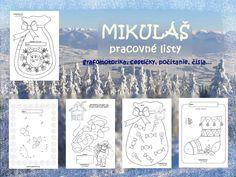 Mikuláš - zbierka pracovných listov pre deti - grafomotorika, počítanie, čísla, hľadanie cestičiek...