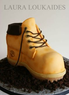 "My second ""shoe"" cake!! – A Timberland Boot. I really enjoyed making this, and, it's Chocolate!! I hope you all like it!!"