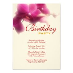 "Birthday Party Invitation 4.5"" X 6.25"" Invitation Card Birthday party invitation with orchids.You can easily change text color, font, size and position by clicking the customize button. This invitation uses felt paper - 100lb cover-weight. Customize it and choose from 6 paper types. View all Party Invitations #birthday #party #floral #flower #garden #elegant #brunch #dinner #family #custom #template #orchid #orchids #pink #pale #pink #red #orange #magenta #dark #pink..."