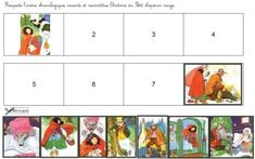 eight small pictures in color to cut and paste in order to tell the story of Le petit chaperon rouge
