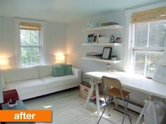 Before & After: A Stylish Office and Guest Room Combo Transformation Floating shelves from Ikea.