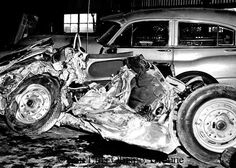 james dean images   James Dean's wrecked Porsche Spyder in a Chalome garage after the ...