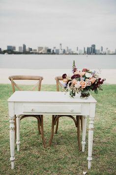 Rustic wedding ceremony signing table | LoveHer Photography | See more: http://theweddingplaybook.com/chic-rustic-wedding-on-the-foreshore/