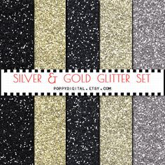Gold Silver Glitter Digital Paper Background by SvetaNDesign