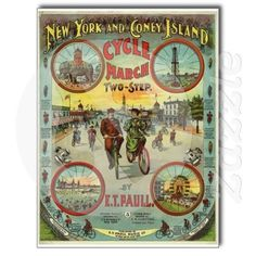 Coney Island NY And Classic Car Vintage by SANDJCRAFTSANDTHINGS, $2.00