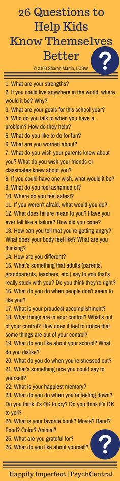 26 Questions to Help Kids Know Themselves Better- Great Writing or Discussion prompts