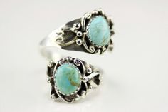 Native American Navajo .925 Sterling Silver Turquoise Adjustable Ring Size 9