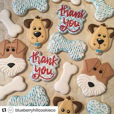 Not my cookies --- @blueberryhillcookieco made the cutest dog cookies with help from my dog bone stencil. I love the little faces!...@westcoaststencils
