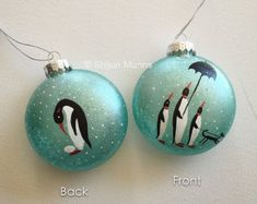 Penguin Christmas Ornament, Handpainted Penguin with Blue Glass Round Christmas Ornament,xmas, merry Christmas, happy holidays