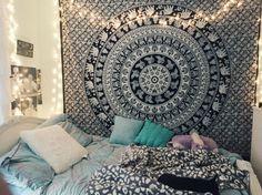 Tumblr, Bedroom, Inspiration, Lights, Tapestry, Pillows, Tiffany Blue, Bohemian, Elephants