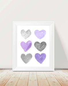 Purple and Gray Nursery 11x14 Watercolor by OutsideInArtStudio