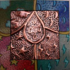 Copper Relief with Decorated Mat by jodie hurt, via Flickr. Black mat board colored with Prisma pencils.